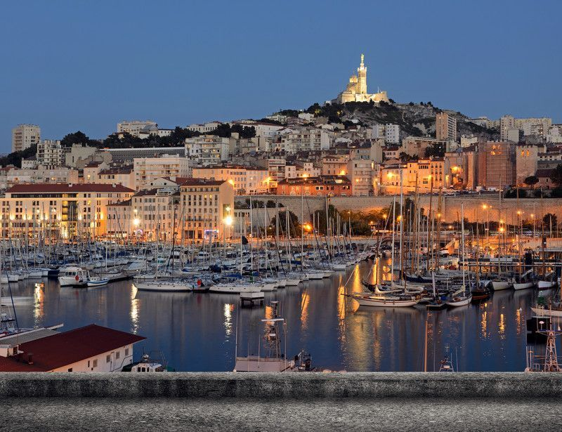 Marseille - Night panoramic of the port, France
